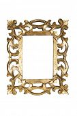 Gold carved picture frame isolated with clipping path.
