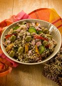 spelt salad with vegetables and ham