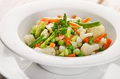 Boiled Mixed Vegetables In A White  Bowl