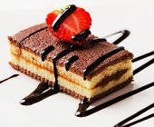 Cake With Chocolate And Strawberry