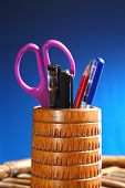 Office: Pencil Holder with Contents or Handmade bamboo pen pot