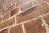 Dirty Grungy Orange Brick Wall Upwards Perspective In Sydney, Australia