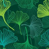 Green leaf seamless pattern. Ginkgo Biloba Leaves Seamless Background. Vector illustration. Good idea for textile, wallpaper, web or wrap design