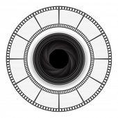 camera lens with film strip round frame design