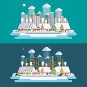 Flat design urban winter landscape illustration