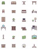 Set of the Domestic furniture related icons