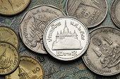 Coins of Thailand. Wat Saket Temple in Bangkok, Thailand, depicted in the Thai two baht coin.