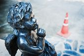 picture of shhh  - Baby Angel statue on stairway Shhh  - JPG