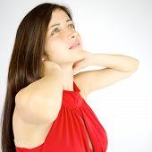 Brunette Female Model Feeling Back Pain With Flu