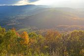 Shenandoah National Park in Virginia - Sunlight rays over mountains