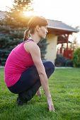 Woman Squat Outdoor