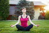 Fit Woman In Sportswear Practice Yoga Outdoor