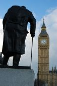 Big Ben With Statue Of Winston Churchill In Foreground