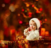 image of christmas baby  - Christmas Baby in Santa Hat in Gift Box - JPG