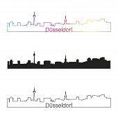 Düsseldorf Skyline Linear Style With Rainbow