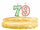 Birthday Cake Candles Number Seventy Nine Isolated