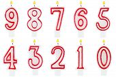 Birthday Candles Number Set Isolated
