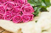 romantic bouquet of Ecuadorian pink roses
