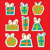 Collection of vector colorful Christmas present boxes.