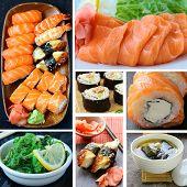 collage menu of Japanese cuisine - miso soup, sushi, sashimi, rolls, salad Chuka