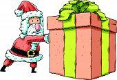 Santa Pushing Present
