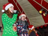 Wearing Santa Hats