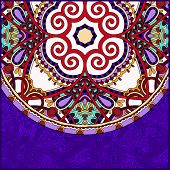 violet colour ornamental floral template with circle ethnic dish