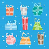 Collection of vector colorful Christmas present boxes. Decoratie items.