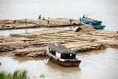Bamboo raft on Port Activities On Ayeyarwady River,Myanmar.