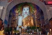 Sitting Buddha In Shwe Kyat Yat Pagoda,Myanmar.