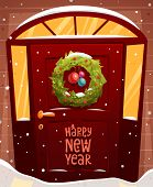 Door Christmas Decoration. Xmas Wreath with Balls and Lights. Holiday Greetings. Snowflakes and Snowdrifts. Holiday Vector Illustration for Christmas Banners, Placards and Posters.
