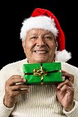 image of oblong  - Male senior with warm smile and red Father Christmas cap - JPG