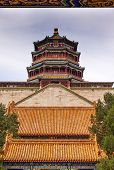 Longevity Hill Tower Of The Fragrance Of The Buddha Orange Roofs Summer Palace Beijing China