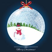 Snowball with snowman and trees inside - Illustration