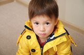 picture of straight jacket  - Caucasian boy portrait in the yellow jacket - JPG