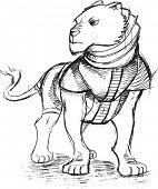 Warrior Lion Sketch Doodle Vector Illustration Art