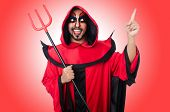 stock photo of lucifer  - Man devil in red costume - JPG