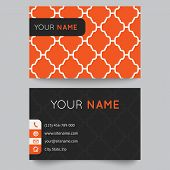 Business card template, orange and white pattern vector design