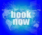 Marketing Concept: Words Book Now On Digital Screen