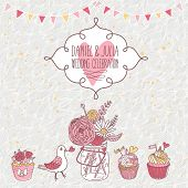 Romantic vintage card in pink and white colors. Bouquet, pigeon, cupcakes on floral background. Ideal for wedding design