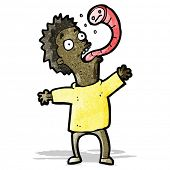 picture of worm  - cartoon man with parasitic worm - JPG