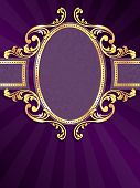 Purple vertical label with gold filigree