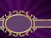 Purple horizontal label with gold filigree