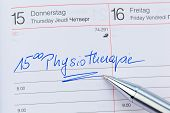 an appointment is entered in a calendar: physiotherapy