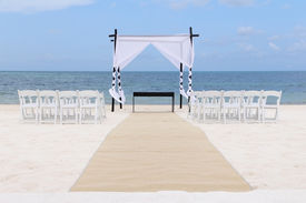 foto of canopy  - Wedding canopy chairs and carpet in Cancun Mexico - JPG