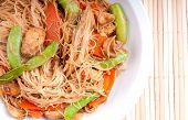 image of lo mein  - chicken stir fry with gluten free noodles healthy and fat free - JPG