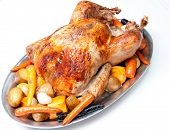 pic of turkey dinner  - roast turkey dinner with seasonal vegetables for a family holiday meal - JPG