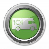 picture of food truck  - Icon Button Pictogram with Food Truck symbol - JPG