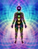 image of chakra  - Female silhouette showing the standard seven chakras and less common chakras on a rainbow colored matrix background - JPG