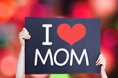 pic of i love you mom  - I Love Mom card with bokeh background - JPG